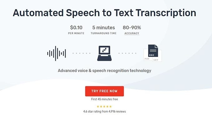 Rev have extra advanced features Automated speech to text transcription