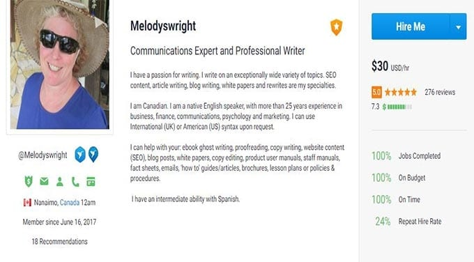 Freelancer user Melodyswright making $30 per hours as a writer
